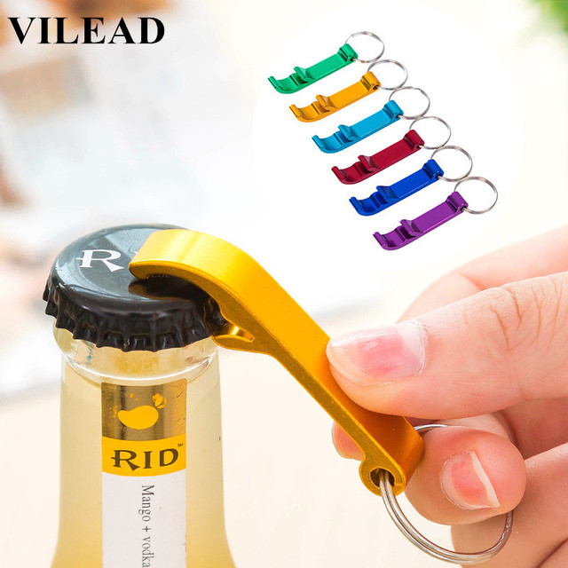 VILEAD 2 PCS Creative Aluminum Alloy Beer Bottle Opener Potable Wine Keychain Opener Key Ring Bottle Ring Bottle Cap Opener Ring