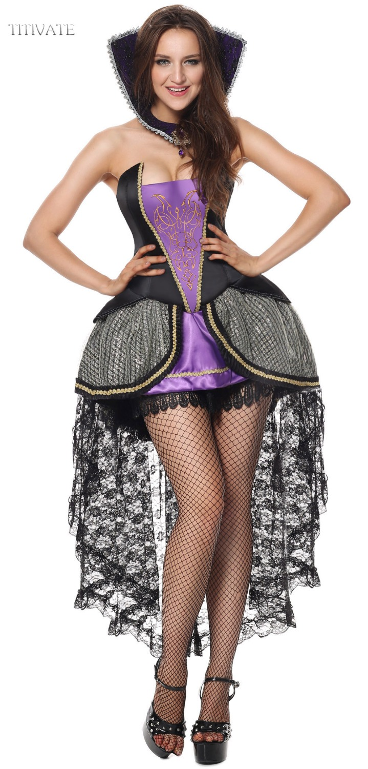 TITIVATE Sexy Luxury Evil Queen Costume Witch Halloween Costumes Carnival Party Cosplay Outfit Fancy Dress M XL For Adult Women