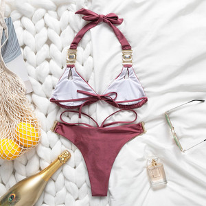 Image 2 - Bikinx bikini de triángulo de cristal para mujer, novedad de verano del 2019, con traje de baño Halter push up, conjunto de microbikini brasileño, ropa de baño Sexy