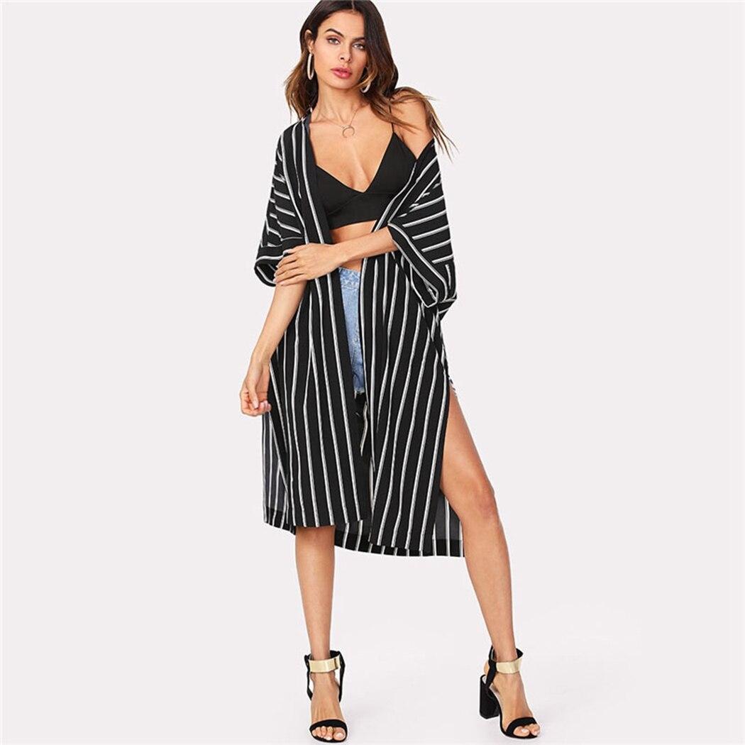 Womens Chiffon Long Sleeves Semi Sheer Bikini Cover Up Four Colors Patchwork Vertical Stripes Oversized Kimono Cardigan Side Spl Women's Clothing