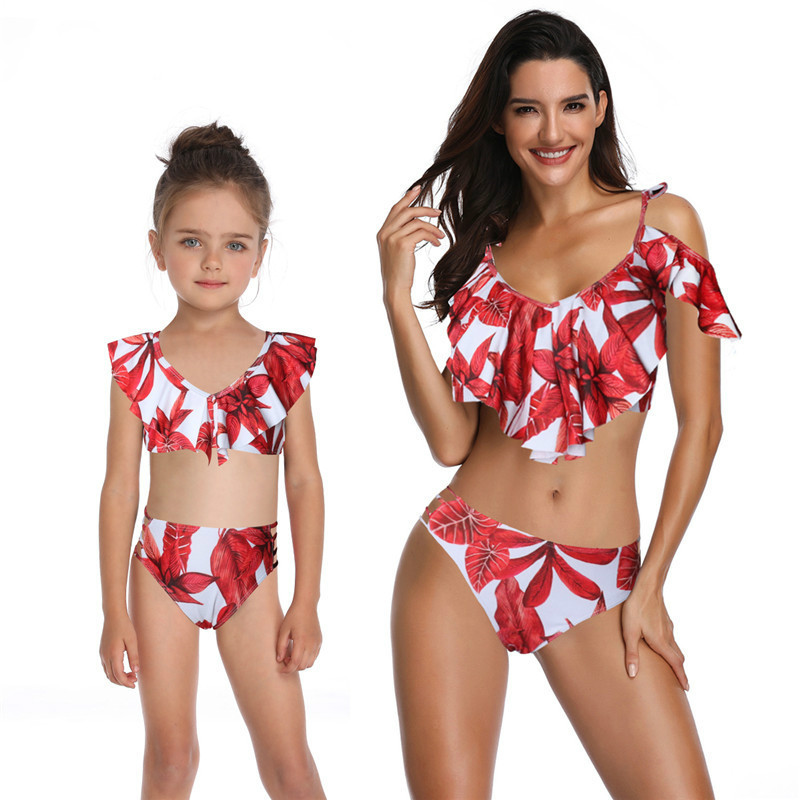fd82164c4a81c Mother and daughter swimsuit mommy and me swimwear bikini family matching  clothes outfits look mom mum