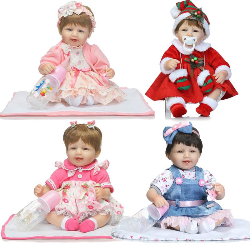 45cm Bebe Bonecas Relistic Dolls 17inch Soft Silicone Reborn Doll Toys Newborn Lifelike Brinquedos For Girl Birthday Gift Toys