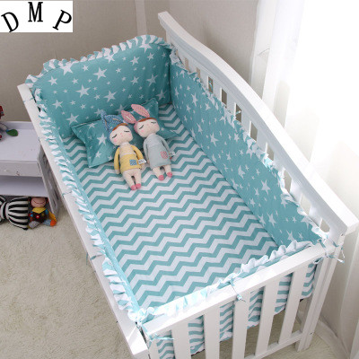 6PCS Cartoon Baby Crib Bedding Set Protetor De Berco Bed Bumper Cotton Unpick Baby Around ,include:(bumper+sheet+pillow Cover)