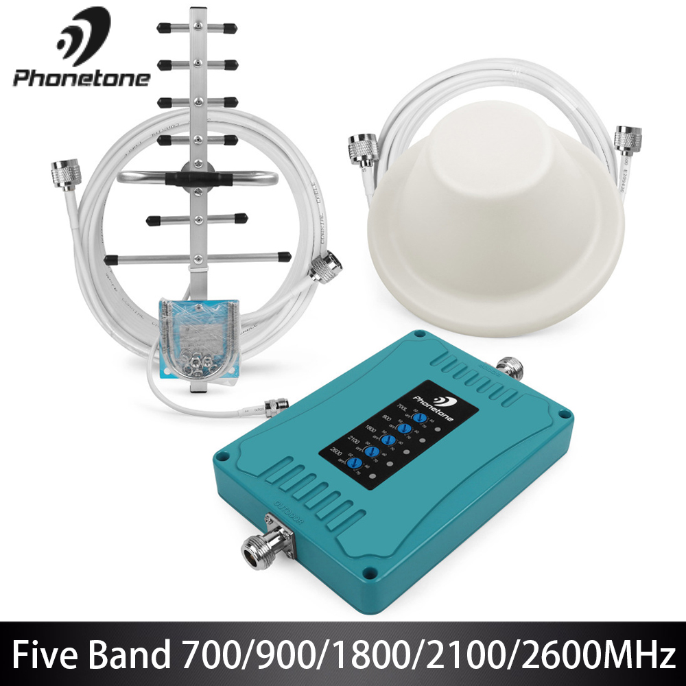 2G 3G 4G GSM répéteur 700/900/1800/2100/2600 MHz Mini taille amplificateur de Signal cellulaire 70dB amplificateur Mobile ensemble pour bande 28/8/3/1/7