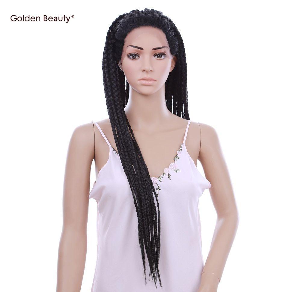 30-дюймовий чорний вітрина косу перуку - Синтетичні волосся