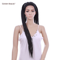 30inch Black Box Braid Wig Long African American Braided Wigs Synthetic Lace Front Wig for Black Women Golden Beauty