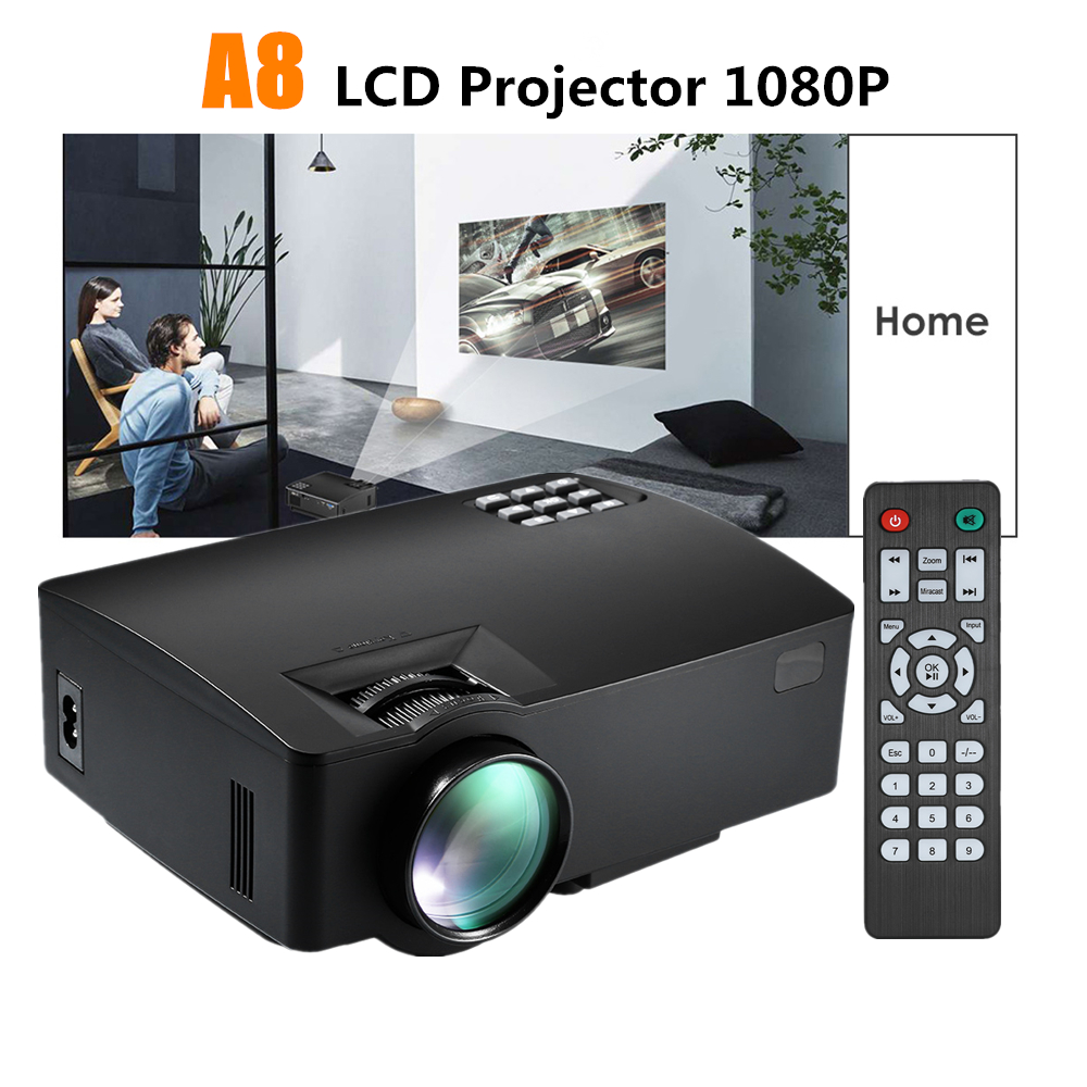 ViviBright A8 Portable LCD Projector Full HD 1080P 1500 Lumens 800x480P HDMI Home Theater Cinema Proyector with Built-in Speaker vivibright gp90 lcd projector 3200 lumens android 4 44 os