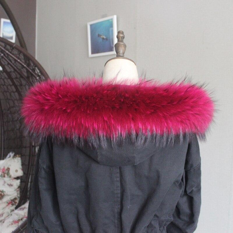 Зимняя куртка из натурального меха, воротник из натурального меха енота, женские шарфы, пальто, женская шапка, длинный теплый шарф из натурального меха, большой размер - Цвет: Rose red
