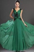 Vestido de festa Elegante V-ausschnitt Long Green Prom Kleider 2016 schnelles Verschiffen Plus Größe vestido de festa longo Günstige Abendkleid