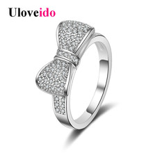 Uloveido Wedding Rings for Women Engagement Ring with Stone Round White Cubic Zirconia Bow-knot Top Decorating Jewellery JZ019