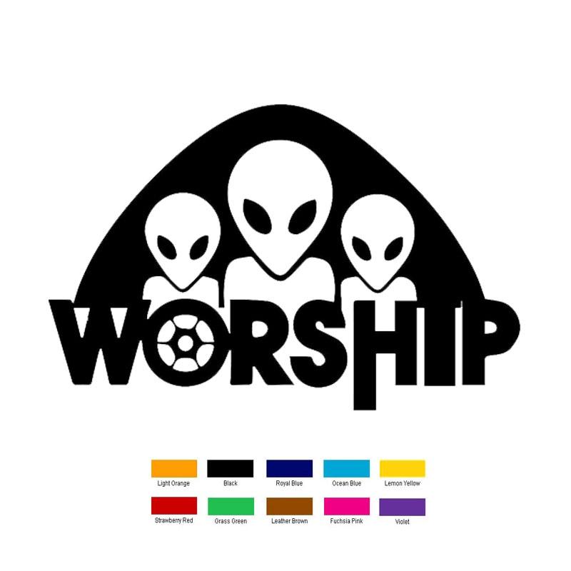 Car- stying 16cm x 10cm Alien Worship Car Sticker For Truck Window Bumper Auto SUV Door Laptop Kayak Vinyl Decal Jdm