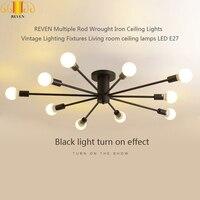 REVEN Múltipla Rod Forjado Luzes De Teto de Ferro Do Vintage lâmpadas de Iluminação Luminárias de teto sala de estar LEVOU E27|Luzes de teto| |  -