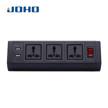 JOHO Desktop Socket 250V 10A/16A Three Sockets Dual USB Charger for Portable Computers Desktop PC Data Cable Universal Tool