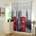 """[55 """"x 102""""] 3D Cortinas Feitas prontas Britânico 1 PAINEL FORRADO Cortinas GROMMET cortina de JANELA CORTINA BLECAUTE TÉRMICA Com London"""