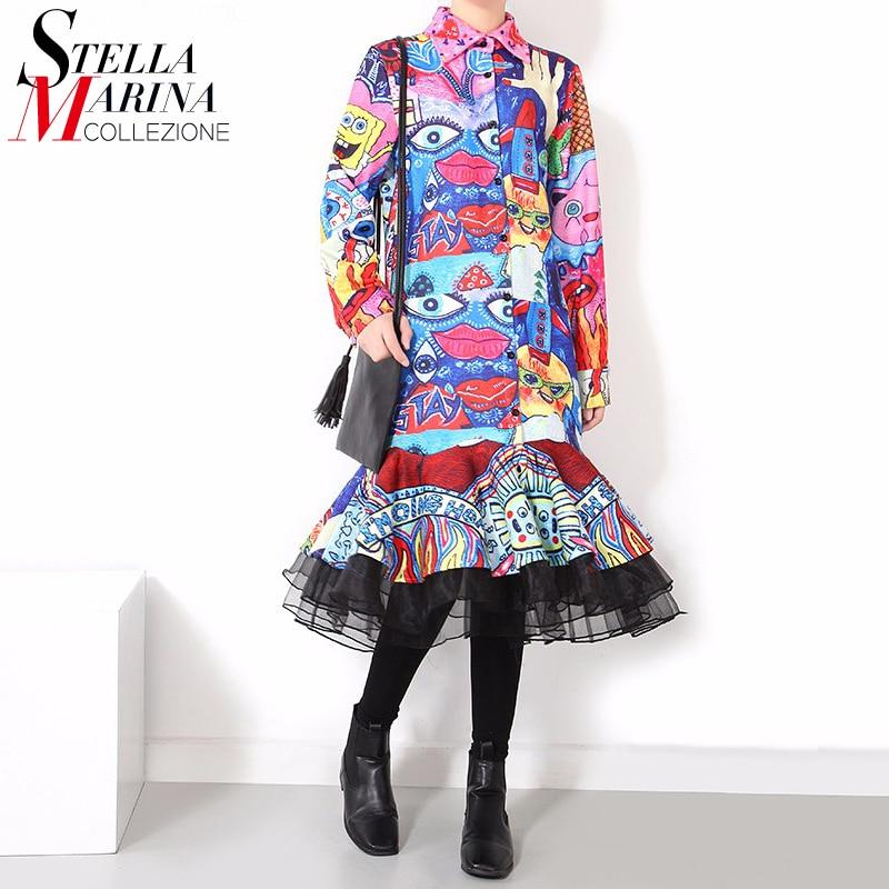 Cartoon Dressing Gown: 2017 Winter Stylish Women Colorful Shirt Dress Long Sleeve