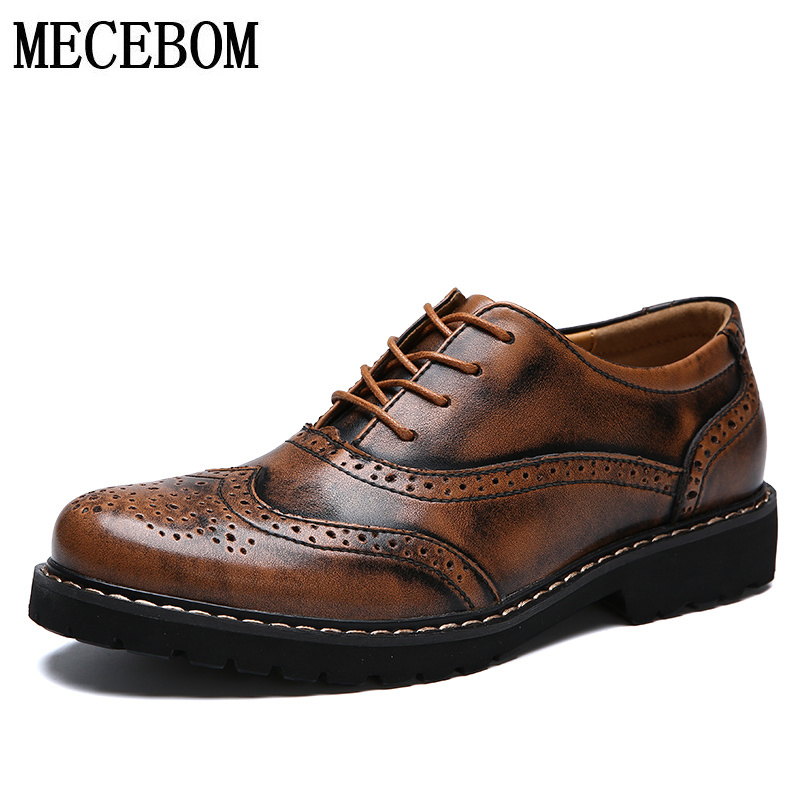 Men's vintage style shoes genuine leather Brogue shoes for male lace-up casual shoes zapatos size 38-44 5590m men s leather shoes new arrival lace up breathable vintage style casual shoes for male footwears zapatos size 38 44 8151m