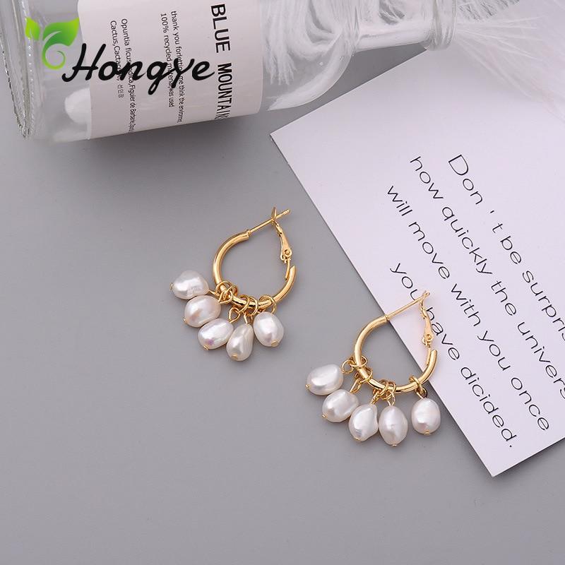 New Design Female Hanging Earrings Beaded Baroque Pearl Geometric Women Drop Earring High Quality Gorgeous Created Ear Jewelry