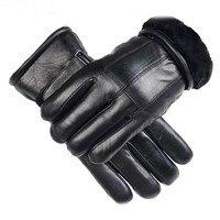 Valpeak 2017 Winter Gloves Male Thick Sheepskin Mens Genuine Leather Gloves Male Keep Warm Black Leather