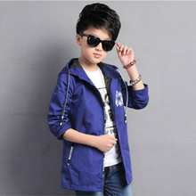 Kids Boy Long Trench Coat Black Blue Boys Clothes Casual Hooded Jackets Boys Clothing 2017 Spring Autumn Child Outerwear 5-16T