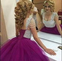 2016 Latest Style Ball Gown Prom Dress Purple Pearls Princess Sweet 16 Prom Dresses Pleated Puffy
