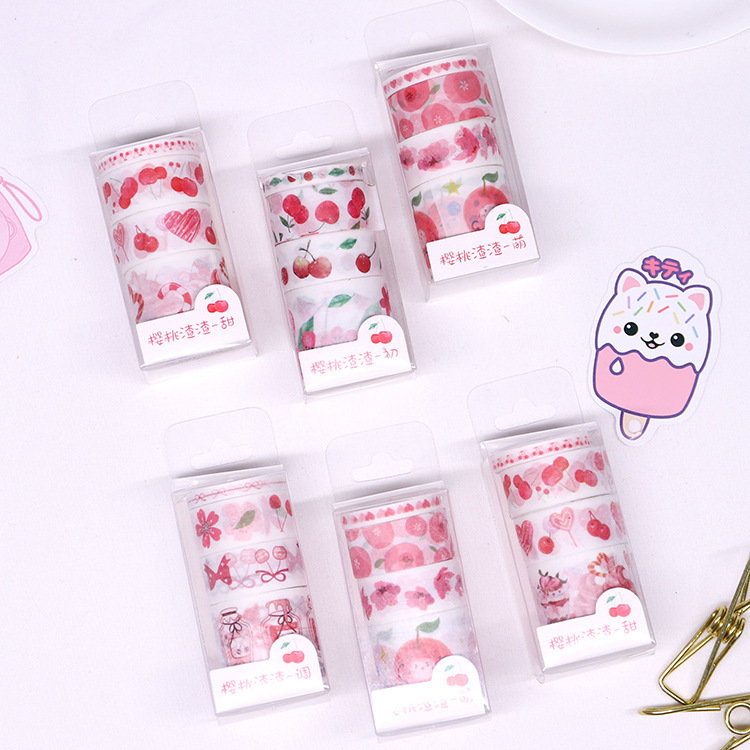 Mohamm Kawaii Cherry Residue Series Set  Washi Masking Tape Paper Stickers Scrapbooking Stationery DIY Decorative Tape