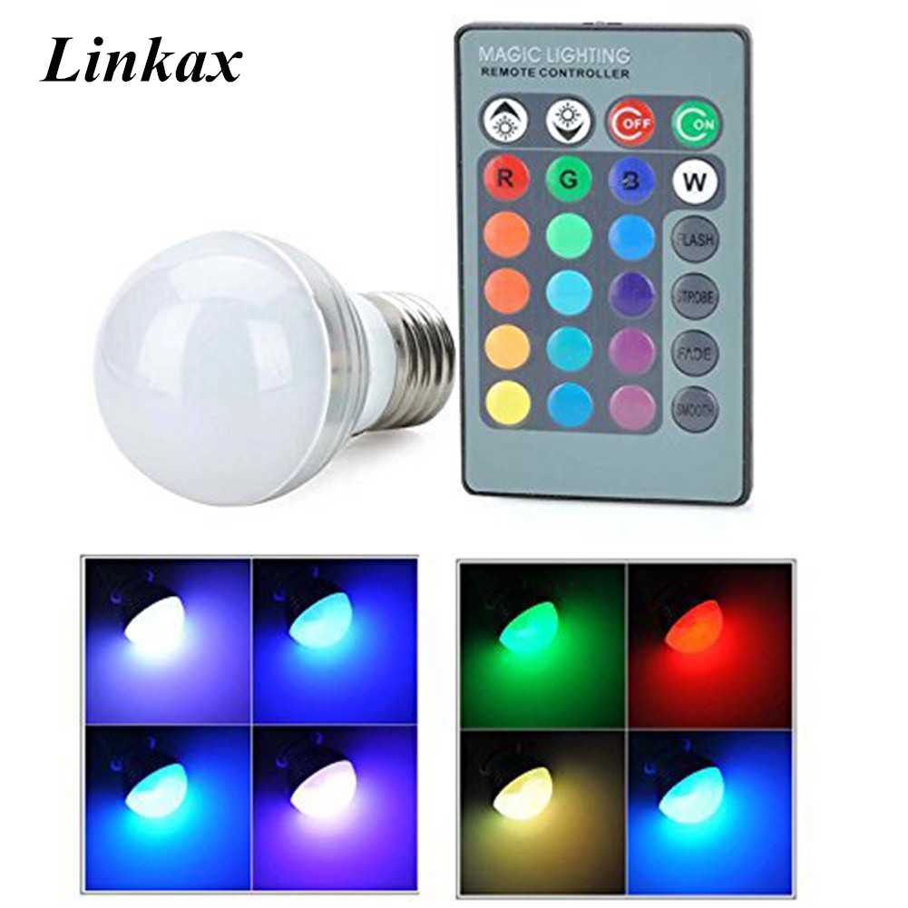 E27 E14 RGB LED Light Bulb 3W 16 Colors Changing Magic Lamp Spotlight Bulb With IR Remote Control Holiday Lighting Decor 85-265V