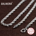 BALMORA 100% Pure 925 Sterling Silver Jewelry Retro Chains Necklaces for Men Male Pendant Accessories Retail Bijoux SZ0157