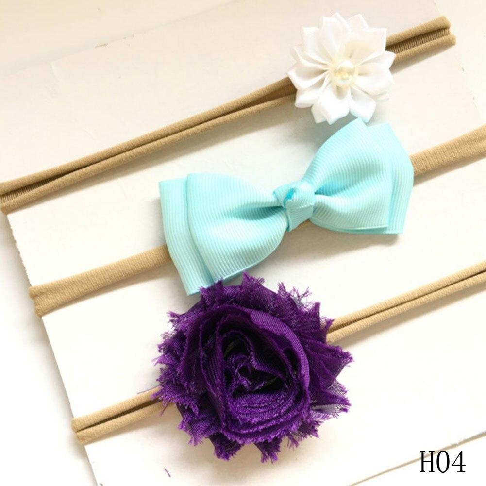 3pcs/set Seamless Hot Baby Girl Nylon Headband Children Stretchy Non-marking Flower Bowknot Elastic Chiffon Flower Set Hairband