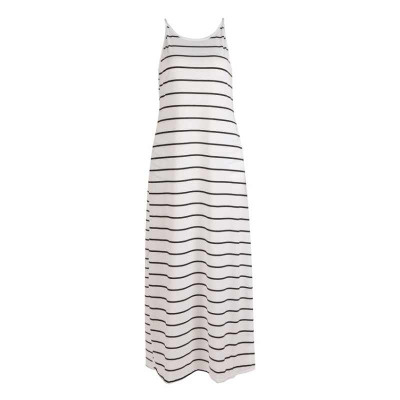 Черный, белый цвет Полосатое платье для мамы и дочки, Для женщин с О-образным вырезом без рукавов платье-рубашка Femme летние Повседневное спагетти длинное платье на лямках F1