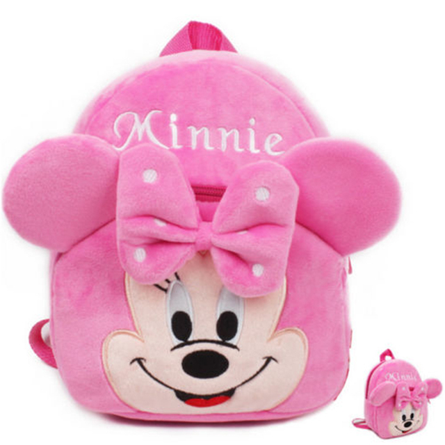 384f2b033b19 Cute cartoon kids plush school bag kindergarten Children s gifts backpack  soft toy Baby kids student bags lovely Minnie