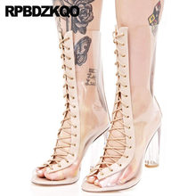 13 45 Pvc Big Size Transparent Boots Chunky Peep Toe Mid Calf 10 Clear  Sandals Luxury Brand Shoes Women High Heel Exotic Dancer 29845790f496
