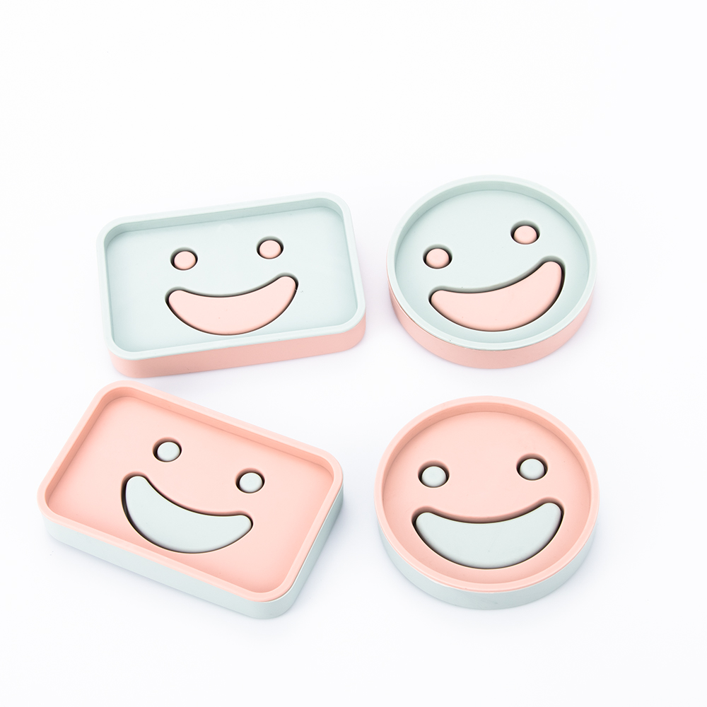 1 PC Smiley Face Design Plastic Soap Dishes Kitchen Bathroom Accessory Home Hotel Box Draining Holder Round And Square Shape
