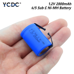 4/5SC SC Sub C li-ion Li-Po Lithium Battery 1.2V 2800mAh Rechargeable Ni-MH Batteries With Welding Tabs