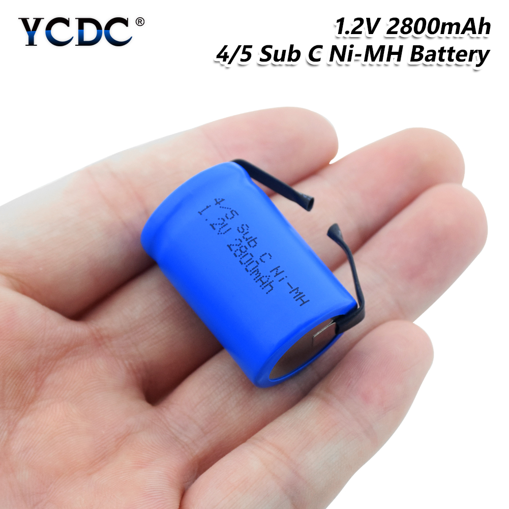 4/5SC <font><b>SC</b></font> Sub C li-ion Li-Po Lithium <font><b>Battery</b></font> <font><b>1.2V</b></font> 2800mAh <font><b>Rechargeable</b></font> Ni-MH <font><b>Batteries</b></font> With Welding Tabs image