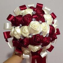 Ramos novia синий и белый Букеты свадебные ручной работы Искусственный цветок розы buque casamento букет невесты для свадьбы
