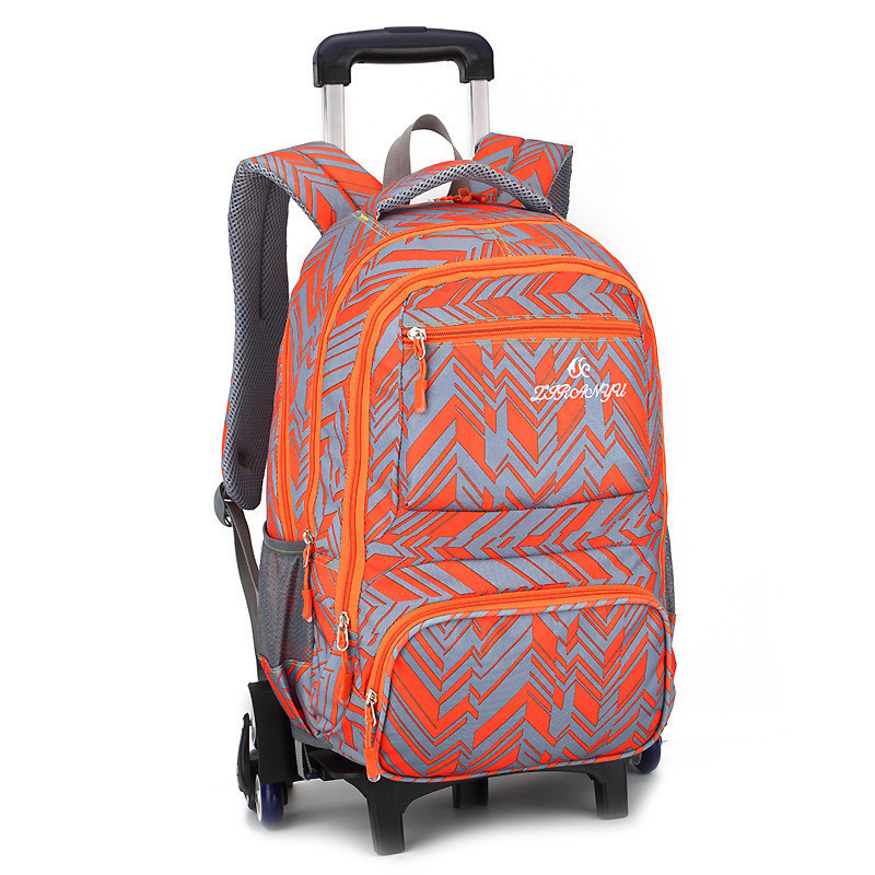 Fashion Kids Trolley Backpack 2/6 Wheels Boys Girl's Trolley School Bags Children's Travel Luggage Rolling Bag School Backpacks