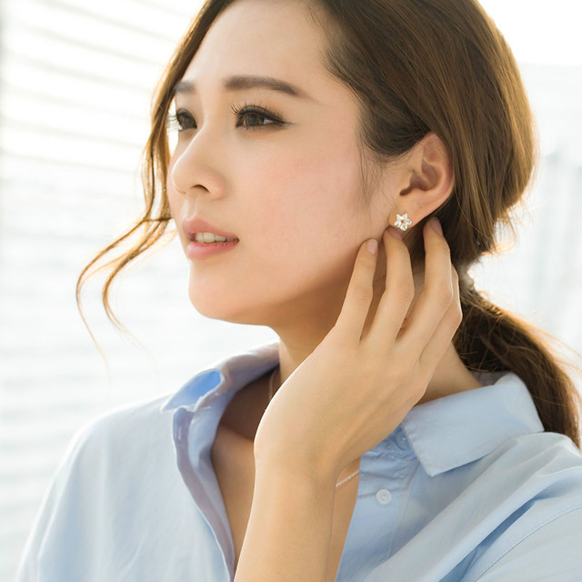 SA SILVERAGE Real 925 Sterling Silver Star Stud Earrings Women Fine Jewelry Trendy Silver Stud Earrings Set Earings Female 2017
