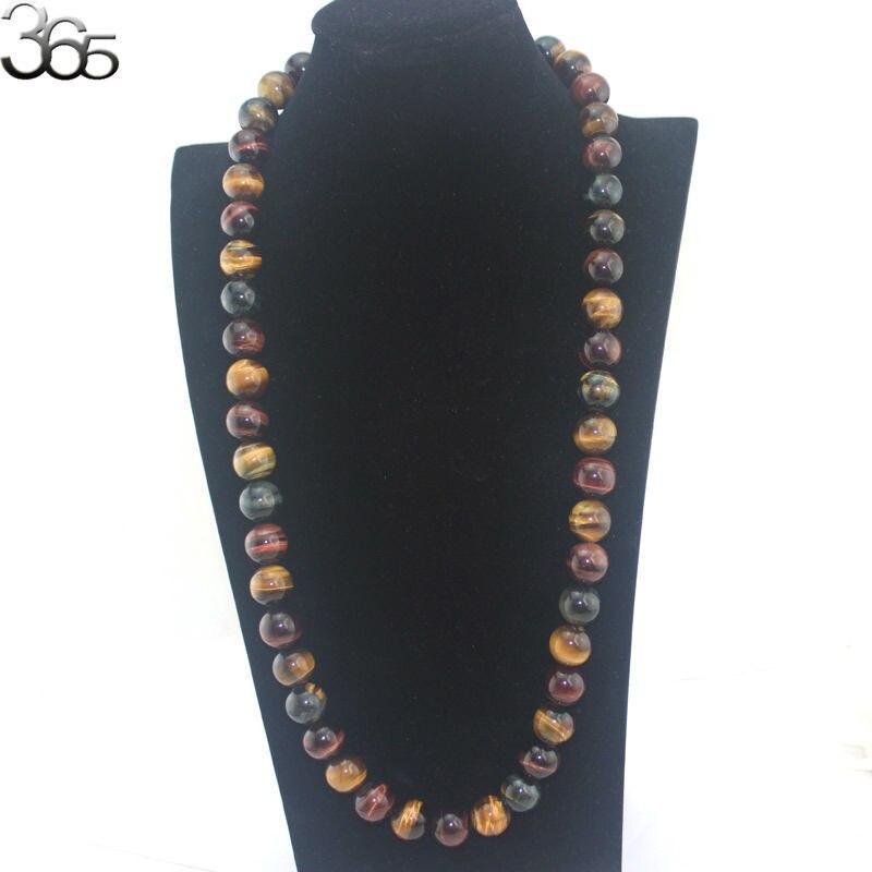 Livraison gratuite 16mm pierres précieuses véritable pierre naturelle perles rondes en argent Sterling 925 fermoir Punk bijoux Long pull collier 30