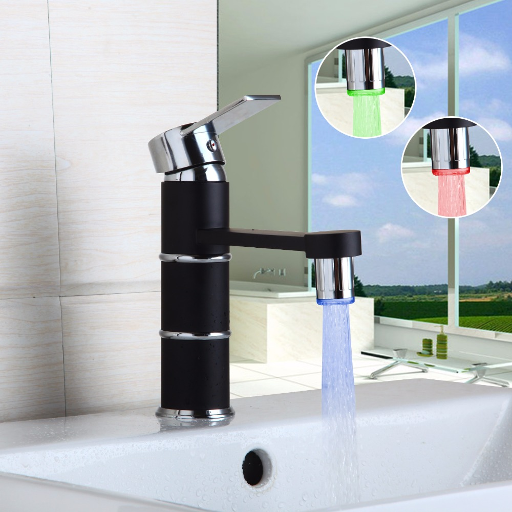 LED No Battery Home Improvement Accessories Luxury Black Painting Kitchen  Faucet Bathroom Basin Sink Faucet Mixer Taps-in Basin Faucets from Home ...