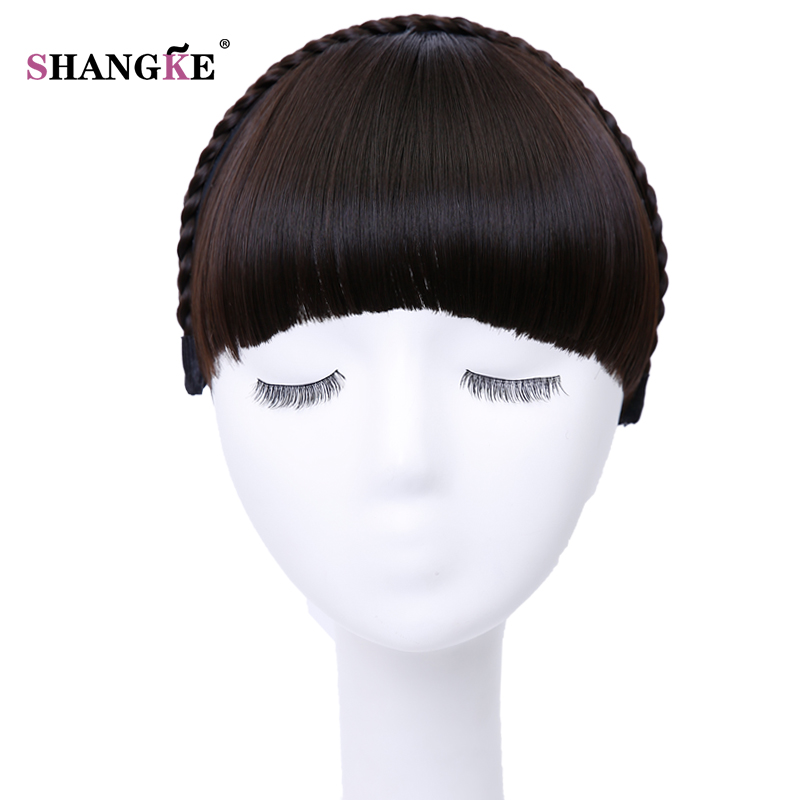 Shangke Short Hair Bangs Heat Resistant Synthetic Hairpieces Hair