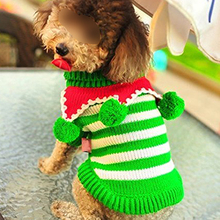 Durable Green with White Knit Pet Dog Sweater Clothes Coat Apparel,Medium
