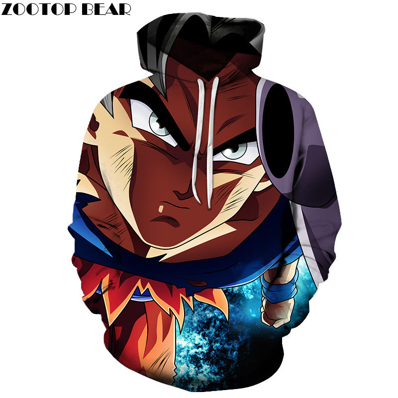 Navy Blue Men Hoodies Super Sweatshirt Dragon Ball Casual Anime Cotton Male Long Pullovers 3D Print Spring Drop Ship ZOOTOP BEAR