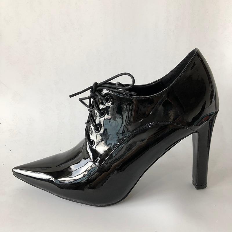 En Chaussures Casual Black Automne Lacets À Épais Pompes Filles Robe Pointu Haute Cuir Mujer Femmes Zapato École Bout Talons Mode 2018 Fsj n1gqWUp1