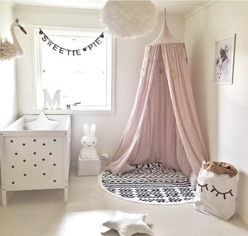 Baby Crib Netting Palace Børneværelse Seng Mantel Seng Netting Cotton Solid Dome Tent Lotus Spil Spædbørn Newborns Crib Netting