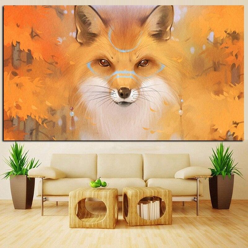 Automne Feuille D'érable Paysage de Bande Dessinée Animal Renard Peinture À L'huile sur Toile Mur Photo Pour Salon Moderne Cuadros Décor