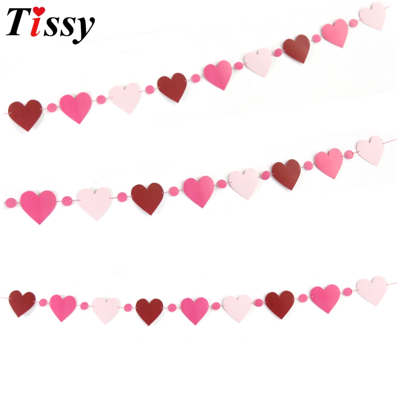 2Set/Lot Lovely Heart Paper Flag Party Garland Banner