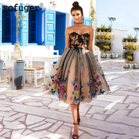 Champagne Tulle Butterfly Appliques Homecoming Party Dress Evening Dress Prom Vestidos De Fiesta Formal Special Occasion