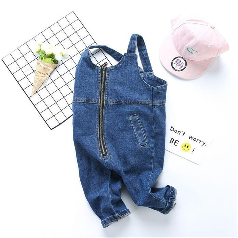 Spring Autumn Baby Denim Suspenders Boys Girls Loose Jeans Overalls All-Match Kids Jumpsuit Zipper Siamese Trousers Pants 1-6T