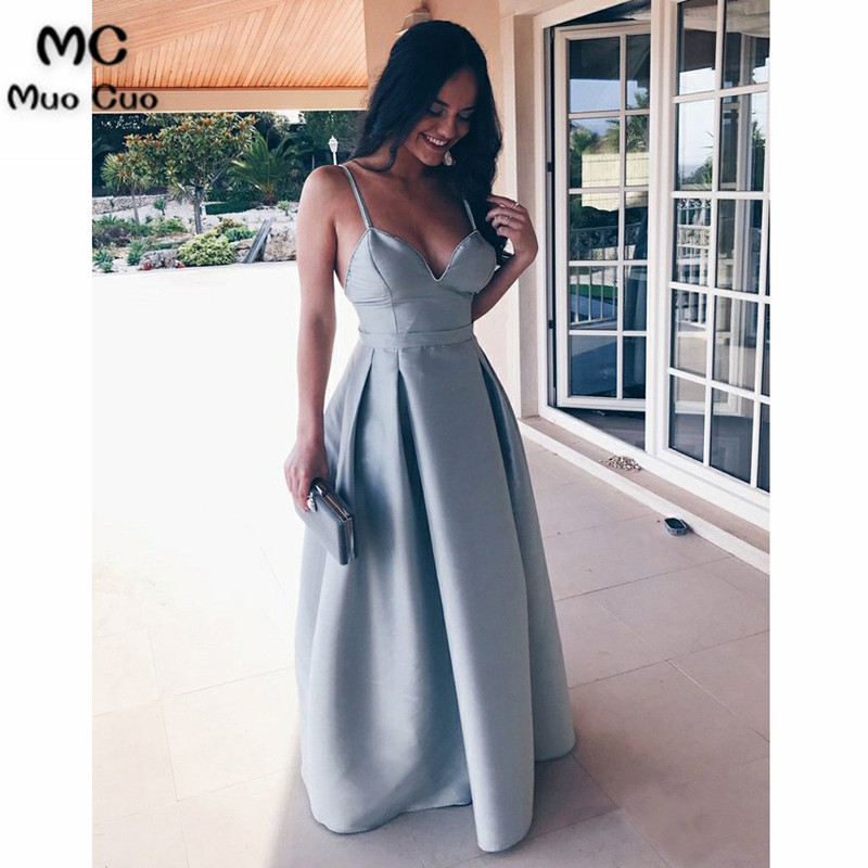 A-Line 2018 Blue   Evening     Dresses   Long Vestido de festa longo Spaghetti Straps Satin long Formal   evening     dresses   for women