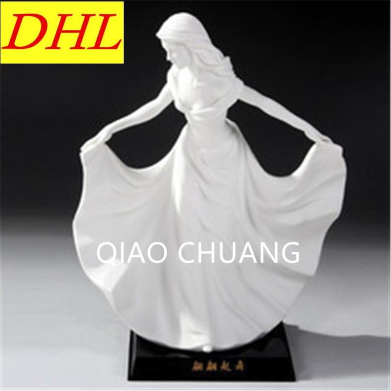 European Style Dancing Girl Ladies Statue Ceramics Purely Manual Art Craft Home Furnishing Articles G1283